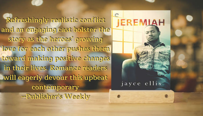 Cover of Jeremiah, by Jayce Ellis, with excellent quote by Publisher's Weekly