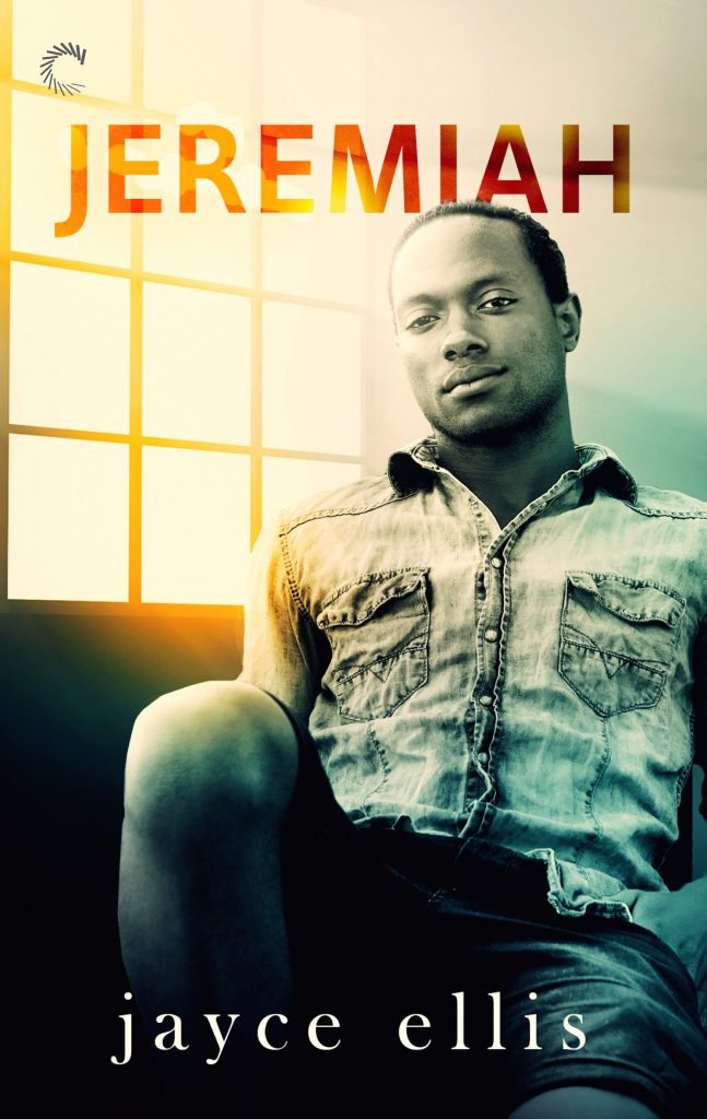 Cover of Jeremiah, by Jayce Ellis. Black man, smirking, lounging on the couch