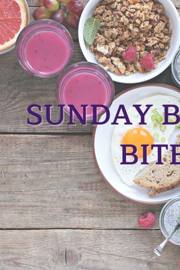A brunch spread, overlaid with cover of Andre, by Jayce Ellis. Caption: Sunday Brunch Bites